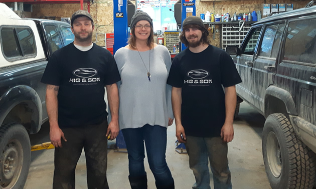 Dave Higginson and Juniper Kelly, business owners, and Ben Demers, are the front-line team at Hig & Son Automotive Repair in Golden, B.C.