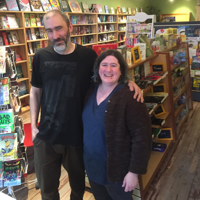 Erin and Trevor at the new Huckleberry Books on 9th Avenue in Cranbrook.
