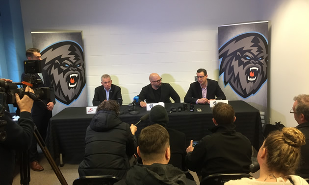 WHL Commissioner Ron Robison, Ice Owner Greg Fettes and General Manager Matt Cockell announcing the Ice's relocation to Winnipeg.
