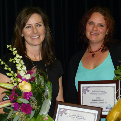 Christie Kennedy and Gina Medhurst received Influential Women in Business (East Kootenay) awards for 2015.