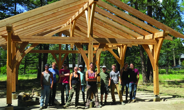 A timber frame pavillion that was installed earlier this year at Idlewild Park by College Carpentry students.