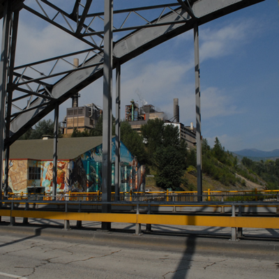 A colourful outdoor mural adds colour to the industrial landscape in Trail, B.C.