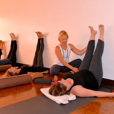 Sharyl Paull working with clients in the Instill Yoga Therapy Studio in Invermere, B.C.