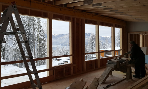 Mountain view from duplex under construction