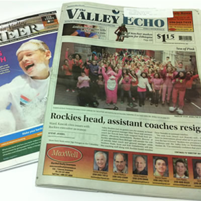 Picture of Columbia Valley Pioneer and the Invermere Valley Echo newspapers.