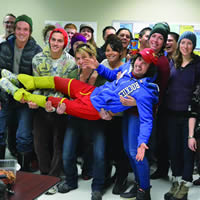 Adventurer Jamie McDonald hangs out with students at College of the Rockies' Golden campus.