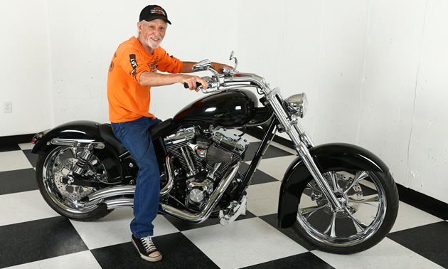 Jerry Wood beams from the seat of his shiny Harley-Davidson-powered motorcycle, custom-built by Wheelz of Fruitvale, B.C.