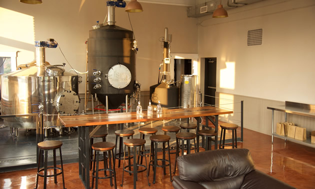 Jones Distilling in Revelstoke has a bright and spacious tasting room.