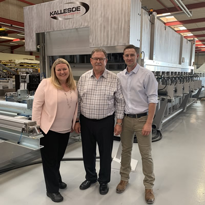 CFO Krystle Seed, CEO and president Ken Kalesnikoff, and COO Chris Kalesnikoff visit Kallesoe Machinery in Denmark to see their new state-of-the-art glulam line in action.
