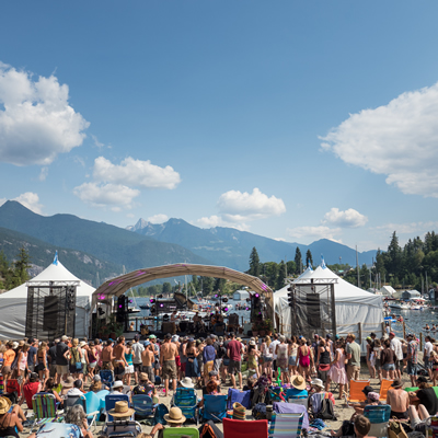 Kaslo Jazz Etc. Festival on the shore of Kootenay Lake, backed by the Purcell mountains