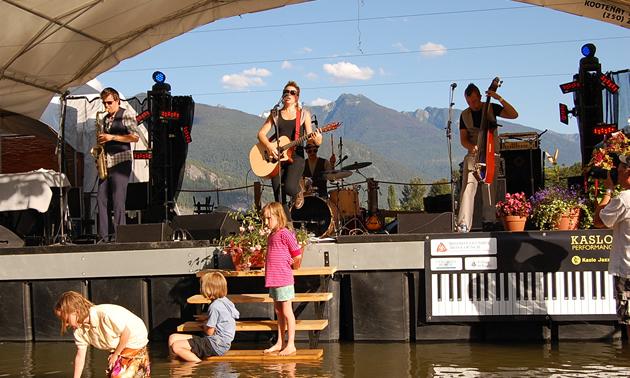 Kaslo Jazz Etc. Summer Music Festival has a floating stage on Kootenay Lake