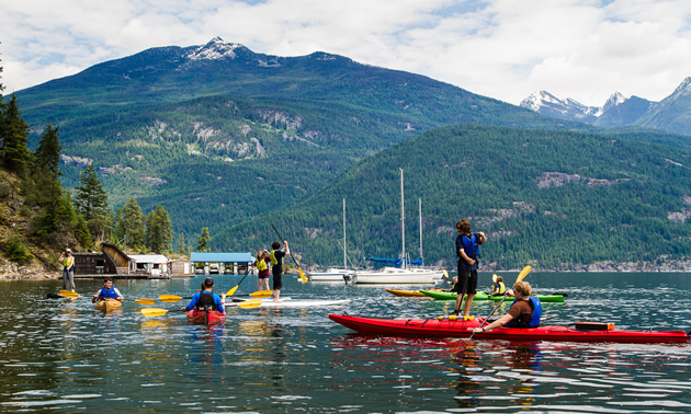 Kayakers on Kaslo Bay