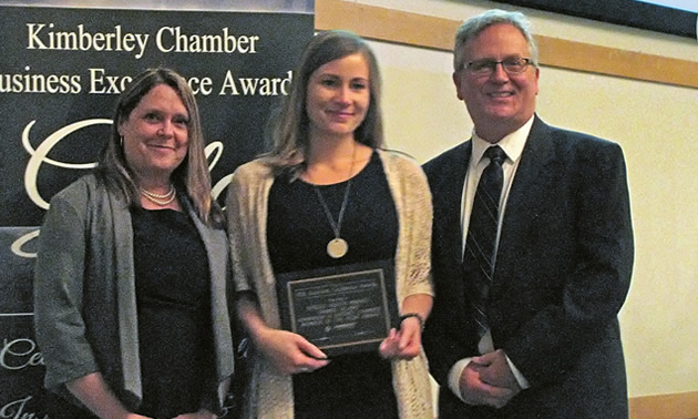 Pictured, left to right: Virginia Rasch, editor, Koocanusa Publications; Chantel DeLaney, Vice-President, Kimberley & District Chamber of Commerce; Mike Guarnery, manager, Kimberley & District Chamber of Commerce.