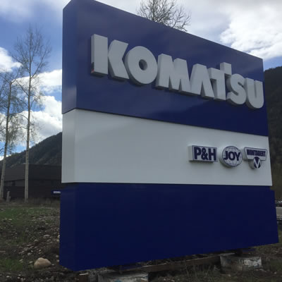 New high visibility signage greets Komatsu customers in Sparwood.