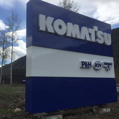 Komatsu sign in Sparwood.