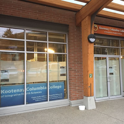 Picture of the front door and window of the new Kootenay Columbia College location.