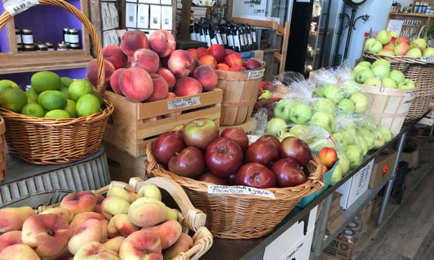 Display of apples, pears, peaches at Kootenay Farm-to-Folk