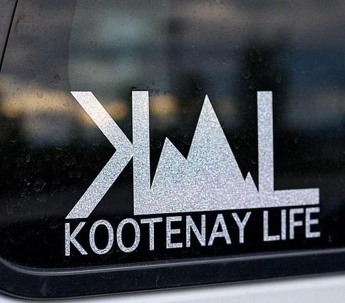 Kootenay Life sticker on car bumper.