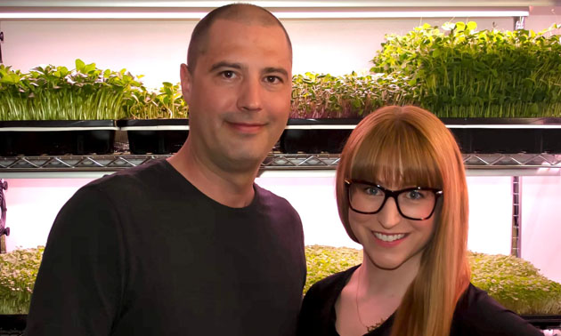 Erin Robertson and Dennis Lavoie are the owners of Kootenay Microgreens, an urban farm in Cranbrook that specializes in growing and selling microgreens.