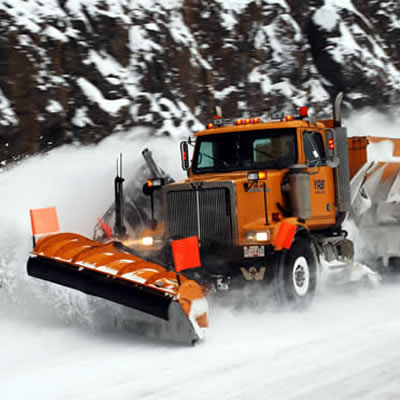 A snowplow in winter.