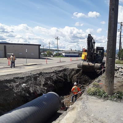 Crews with Mackay Contracting working on the storm trunk upgrade project on Kootenay Street.