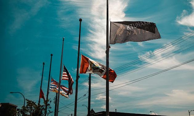 Row of flags at half-mast.
