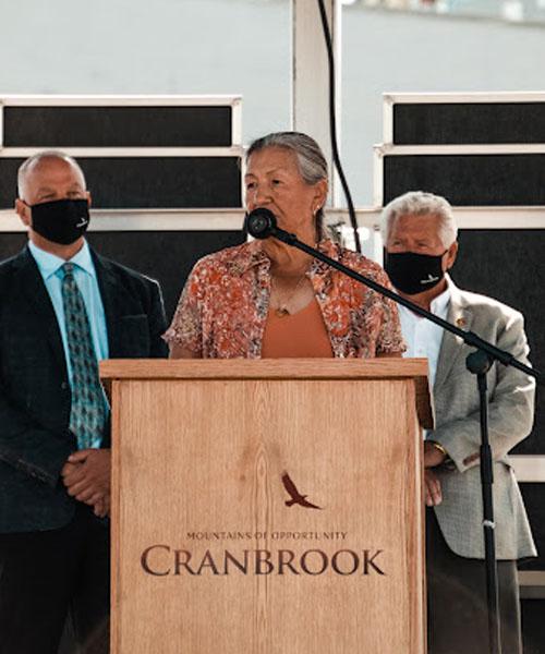 Kathryn Teneese addressing the crowd at Ktunaxa Nation flag-raising ceremony.