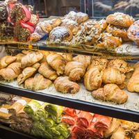 Pastries and wraps in the showcase at La Baguette Catering in Revelstoke, B.C.