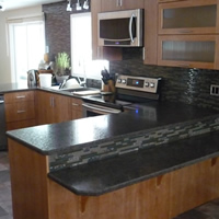 Kitchen cabinets made by Bruce Richier of Leaf Cabinetry, Winlaw, B.C.