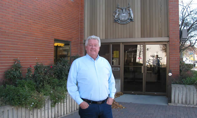 Cranbrook's mayor, Lee Pratt, outside city hall in October 2018, at the beginning of his second term in office