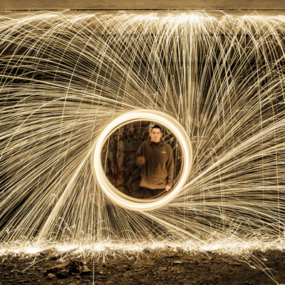 Photo from Lit Photo/Video Creston, B.C., of a light effect with steel wool over the camera lens.