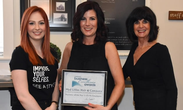 Makenzie Yates, Jodi Yates and Marilyn McGovern, whose new business was nominated for Business of the Year by the Cranbrook Chamber of Commerce.
