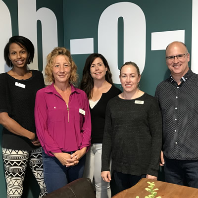 (L to R): Tanya Malcolm, Ground Floor community manager; Tammy Morrison, CFEK senior administrator; Layla Lye, CFEK client account manager;  Keri Sanderman, CFEK investment fund manager; Sean Campbell, CFEK general manager.