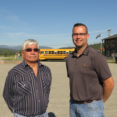 Marty Williams, councillor for the ?aq?am Community, and Chase Thielen of Silverado Construction