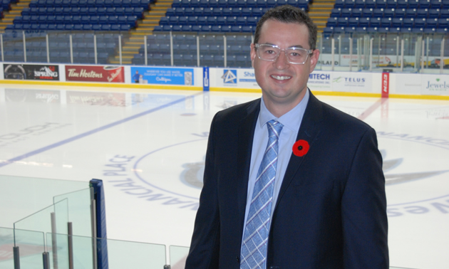 Matt Cockell, the president, general manager and co-owner of the Kootenay Ice Hockey Club, with the empty ice in the background