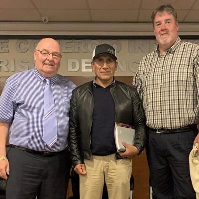 Dean McKerracher (left) and Curtis Helgesen (right) spent time in Peru in 2018, working with mining communities under the CISAL program.