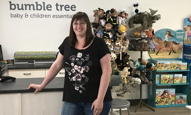 Smiling Megan Lescanec at Bumble Tree Baby and Children Essentials