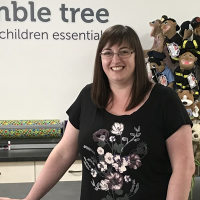 Smiling Megan Lescanec at Bumble Tree Baby and Children Essentials