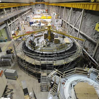 The rotor under construction in the service bay at Mica Generating Station
