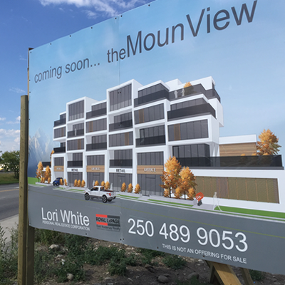 A sign for a potential development called MounView