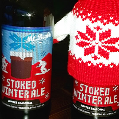 Two cans of Mt. Begbie Brewing Company's Stoked Winter Ale.