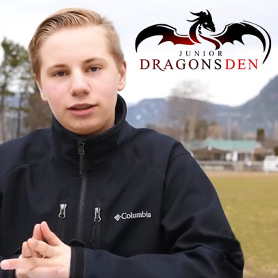 Myles Peterson, first place winner in the Junior Division at the recent Junior Dragon Den West Kootenay Championships.