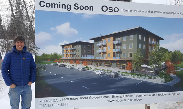 Ned Johnson of Innovation Building Group and Vidorra Developments, plans to build a mixed commercial and residential building in Golden, B.C.