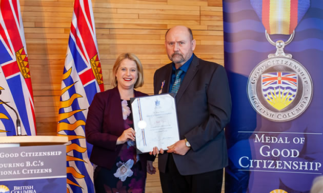 Neil Cook of Cranbrook receives the BC Medal of Good Citizenship.