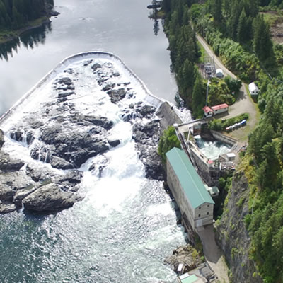 An overhead view of Nelson Hydro power plant.