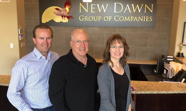 (L to R) Chad, Rick and Leanne Jensen are partners in the New Dawn Group of Companies.
