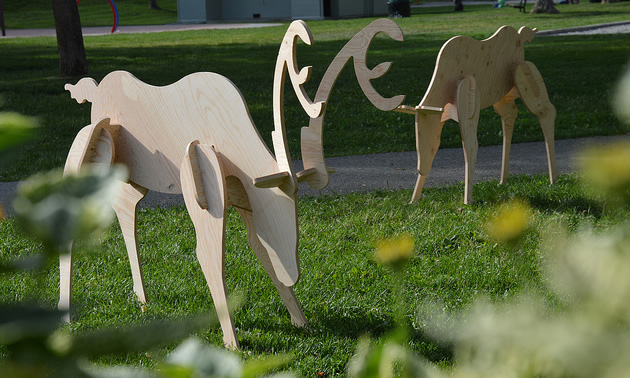 Two wooden deer appear to graze in a field, framed by blurry weeds.