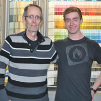 Tom Oglow, owner of Oglow's Paint, Wallcoverings and Window Blinds in Castlegar, and student Patrick Linkletter.