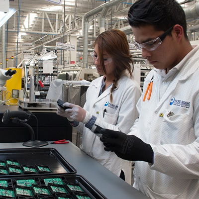 A photo published by Mexico Now, of workers at Pacific Insight's Monterrey, Mexico production facility