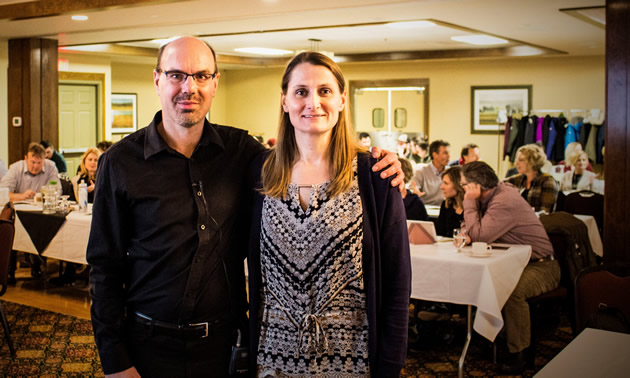Mark Colgate, PhD, from UVic, spoke at a professional development session organized by Patty Vadnais (R) for the Fernie Ambassadors Program.